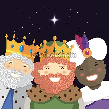 happy three kings smiling in the