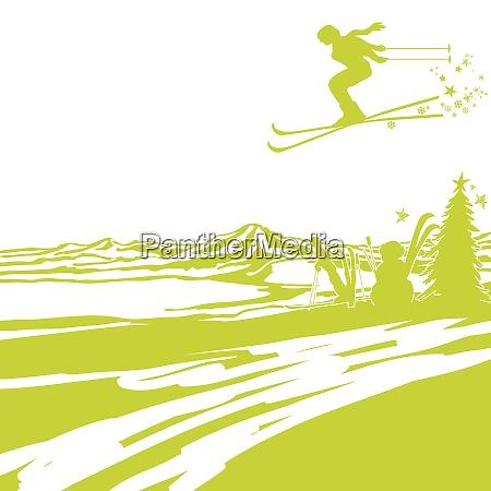 skifahren zu weihnachten in den bergen