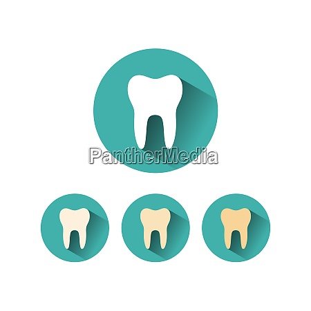 tooth flat icon on different green