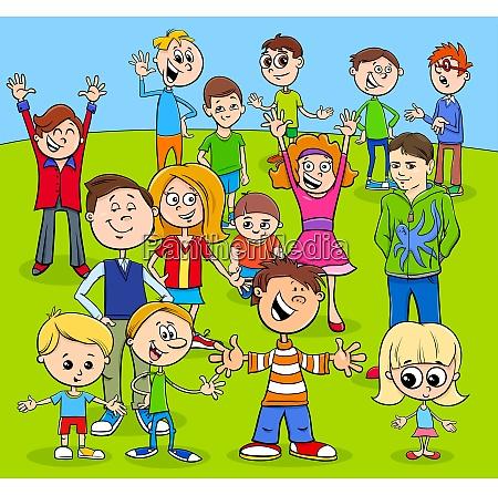 kids and teens cartoon characters group