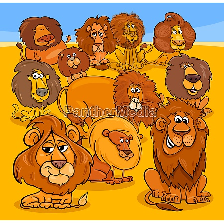 cartoon lions animal characters group