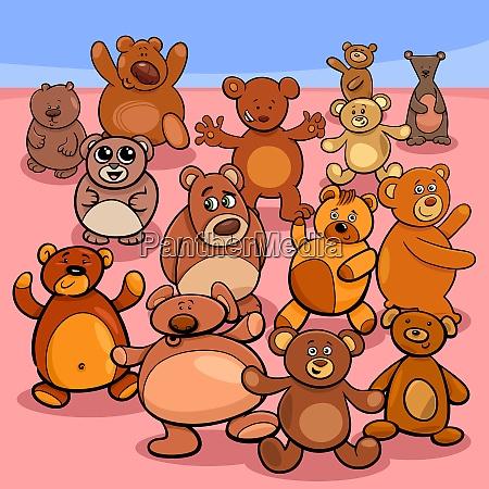 teddybaeren gruppencartoon illustration