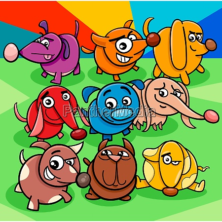 cartoon colorful dog characters group