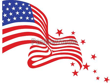 eingeeinte staaten flagge sterne wind illustration