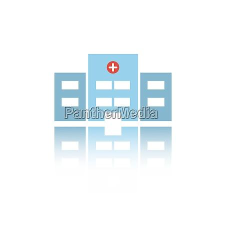 isolierte krankenhausfarbe ikone mit reflexion