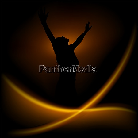 magic dance background with silhouetted woman