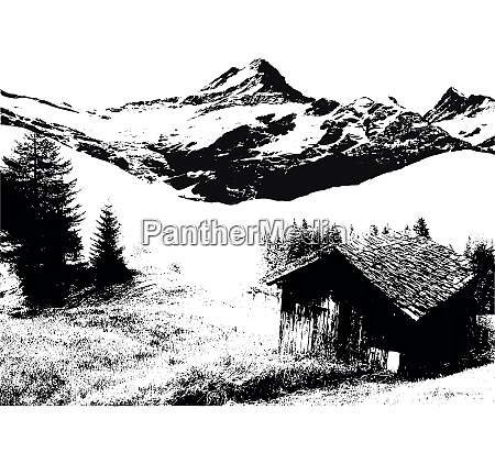 cabin and mountain landscape