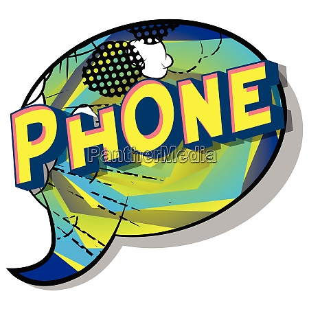 phone comic book style words