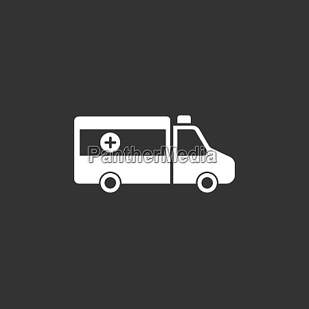 ambulance icon on a black background