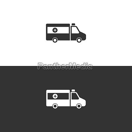 isolierte ambulanz symbol auf schwarz weissem