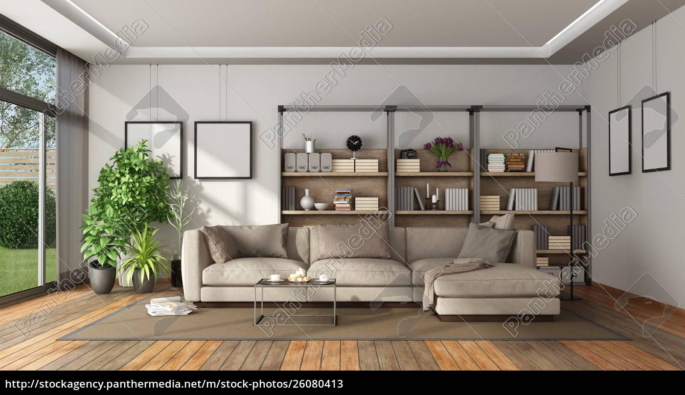 modernes wohnzimmer mit bücherregal und sofa - Stockfoto - #26080413 ...