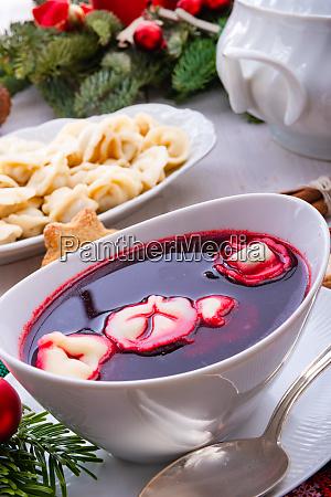 red barszcz with uszka a polish