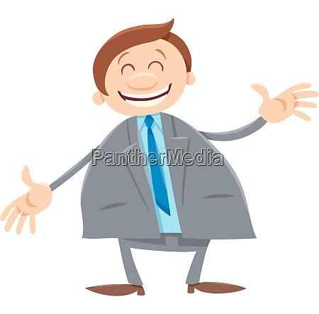 happy businessman cartoon comic character
