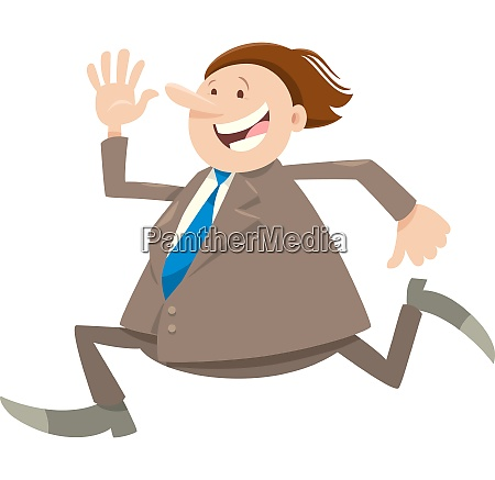 happy running businessman character