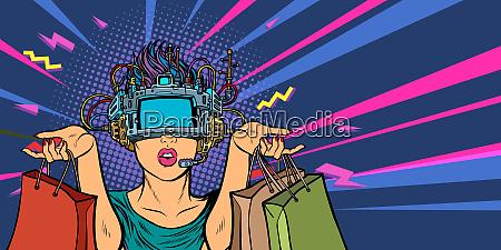 frau einkaufen im verkauf virtual reality