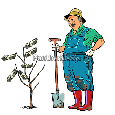 old gardener grows dollars on a