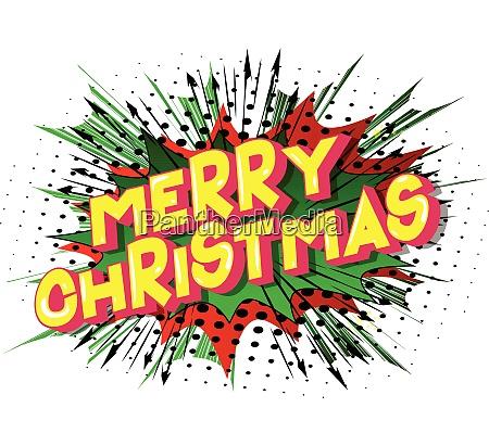 frohe weihnachten comic buch stil