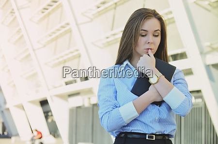 young beautiful business lady in office