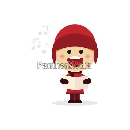 weihnachtsjunge singt weihnachtslieder auf weissem hintergrund