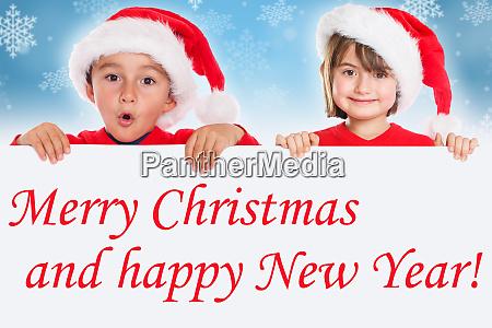 frohe weihnachtskinder kinderkarte santa claus