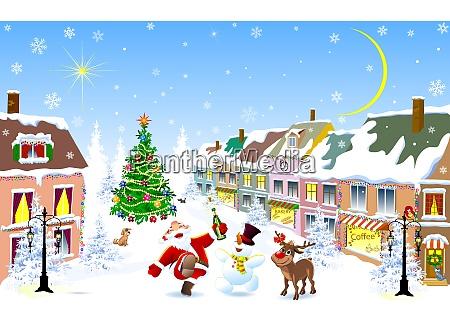 stadt im winter jolly santa hirsch