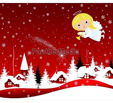 weihnachtsengel am himmel an heiligabend