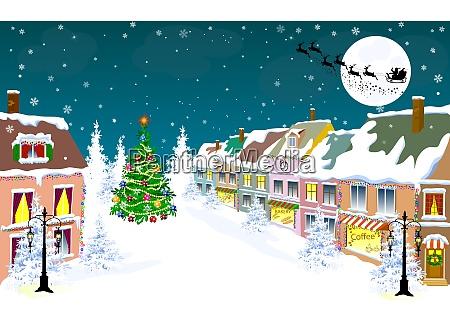 stadt winter nacht santa auf dem