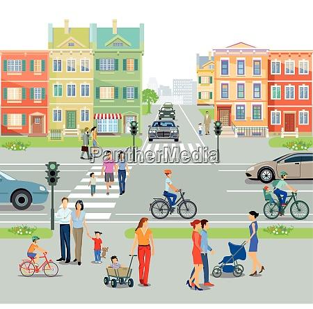 stadt mit fussgaengerueberweg und strassenkreuzung abbildung