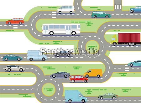 strassenverkehr mit bus und pkw