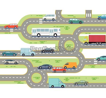 strassenverkehr mit bus und auto
