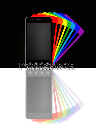 smartphones with colorful shadows illustration of