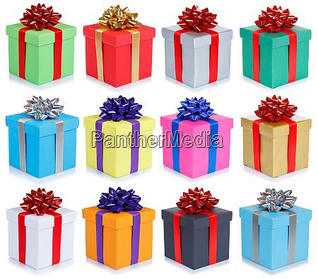 sammlung von geburtstagsgeschenken weihnachtshochzeitsgeschenke isoliert auf