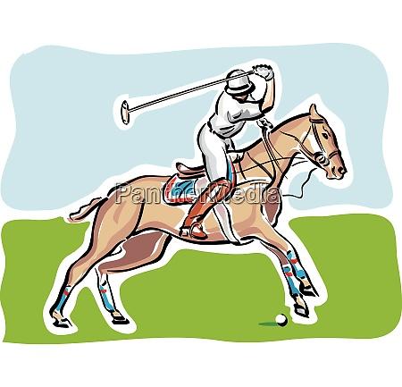 illustration eines polo spielers