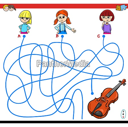 paths maze game with girls and