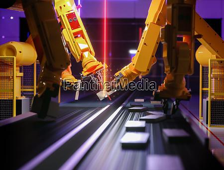 intelligenter automatisierungsroboter in aktion
