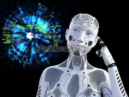 3d rendering weiblicher roboter denkt ueber