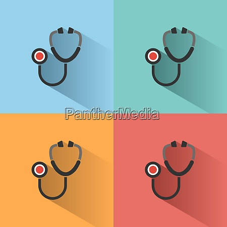 stethoscope flat color icon with shadow