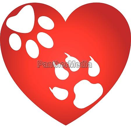 heart dog paw cat paw dog