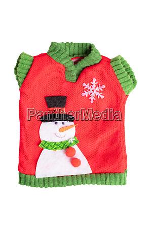 hintergrund der weihnachtsdekoration spielzeugpullover mit schneemann
