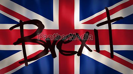 englische flagge mit dem wort brexit