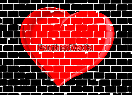 brick wall with red valentine love