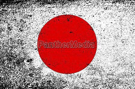 japanische flagge mit schwerem grunge