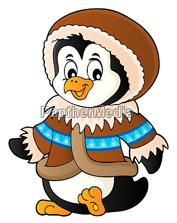 penguin in winter clothing theme 1