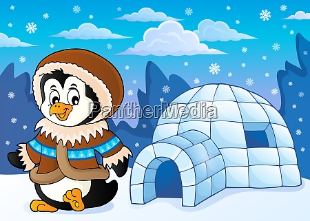 penguin in winter clothing theme 2