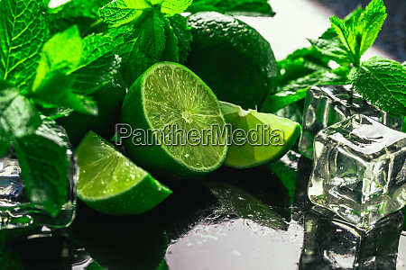 fresh green mint and lime ice