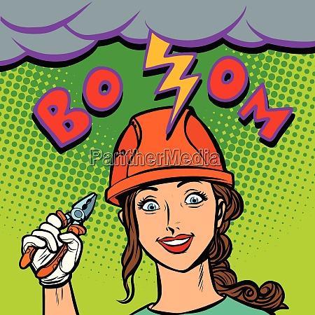 joyful woman electrician professional lightning strike