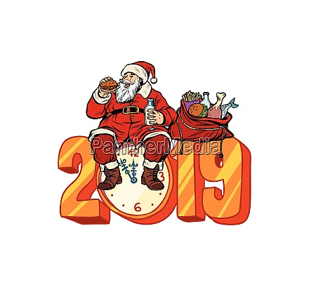 hungrige weihnachtsmannessen neues jahr 2019