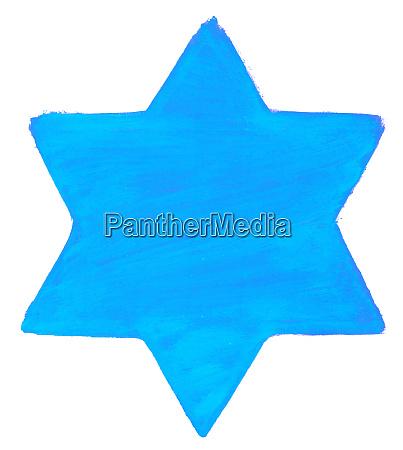 handgemalter stern mit blauer farbe