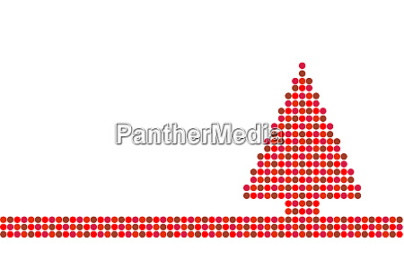 roter weihnachtsbaum mit punkten auf weiss