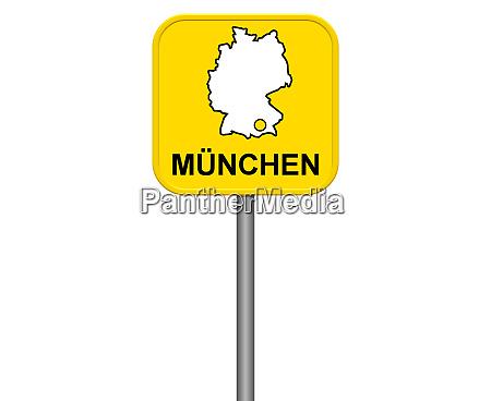 muenchen gelbes stadtschild mit deutscher karte